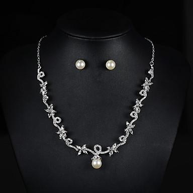 Mulheres Pérola Conjunto de jóias 1 Colar 1 Par de Brincos - Básico Fio Único Conjunto de Jóias Para Casamento Festa Halloween