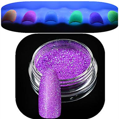 1 fles nail art mooie noctilucent poeder kleurrijke glitter glanzende nagel schoonheid decoratie yg01-06 willekeurige levering