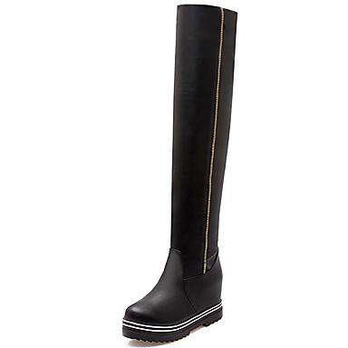 Damen Schuhe Kunstleder Herbst Winter Modische Stiefel Stiefel Walking Plattform Reißverschluss Für Normal Kleid Weiß Schwarz