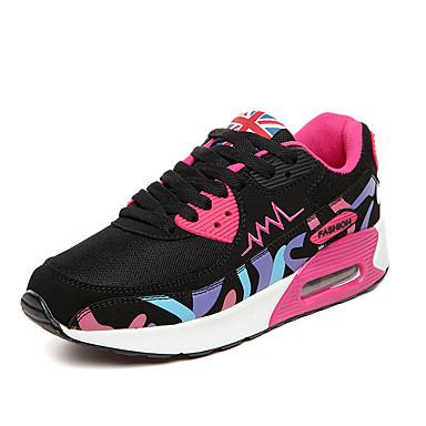Damen Schuhe PU Frühling Herbst Komfort Sneakers Walking Flacher Absatz Schnürsenkel für Normal Schwarz