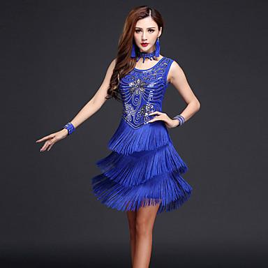 ラテンダンス ドレス 女性用 性能 ナイロン / プロミックス タッセル ノースリーブ ハイウエスト ドレス / Neckwear