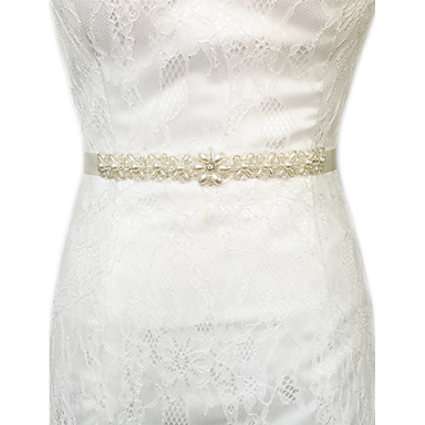 Satin Hochzeit Party / Abend Alltagskleidung Schärpe With Kristall Perlenstickerei Perle Damen Schärpen