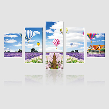 Canvas Set Landskap Moderne,Fem Paneler Lerret Vertikal Print Art Wall Decor For Hjem Dekor