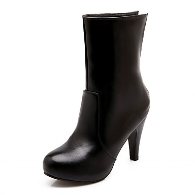 Hæle-Syntetisk laklæder Kunstlæder-Combat-støvler Cowboystøvler Ankelstøvler Ridestøvler Modestøvler Motorcykelstøvler-Dame-Sort Rød-