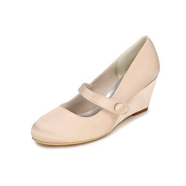 Mujer Zapatos Seda Primavera / Verano Tacones Tacón Cuña Hebilla Rosa / Champaña / Marfil / Boda / Fiesta y Noche / Tacones de cuña
