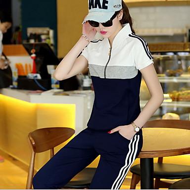 Dame Træningsdragt Kortærmet Åndbart Bukser T-Shirt Tøjsæt Toppe for Træning & Fitness Fritidssport Badminton Cykling/Cykel Løb Polyester