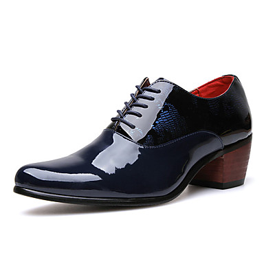 Homens sapatos Couro Ecológico Primavera Outono Oxfords para Casual Festas & Noite Preto Azul Escuro