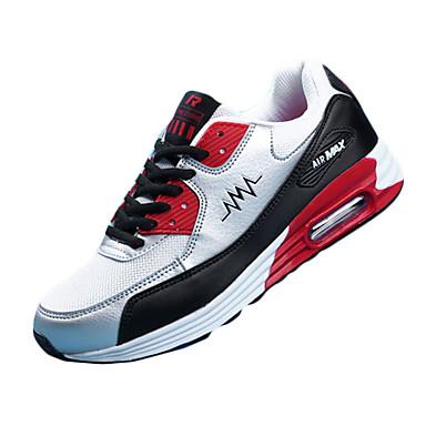 Homens sapatos Couro Ecológico Tule Primavera Outono Conforto Tênis Corrida Cadarço para Atlético Preto Azul Escuro Vermelho Azul Real
