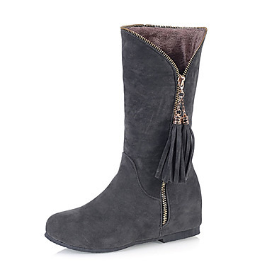 Damen Schuhe Kunstleder Winter Frühling Herbst Modische Stiefel Stiefel Walking Keilabsatz Quaste für Normal Party & Festivität Schwarz