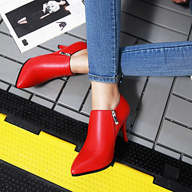 Perle Blanc Botillons Fermeture 05168127 Aiguille Chaussures Bottes Automne Hiver Noir Femme Imitation Similicuir Rouge Talon vnzxqIvPB