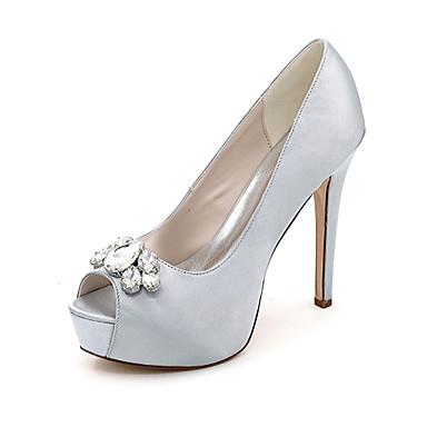 Sandaler-SatinSort Blå Rosa Lilla Rød Elfenbensfarvet Hvid Sølv Guld Champagne-Bryllup Formelt Fest/aften-Stilethæl