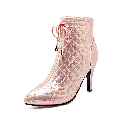 Støvler-Kunstlæder-Modestøvler-Dame-Sort Rosa Sølv Guld-Fest/aften-Tyk hæl
