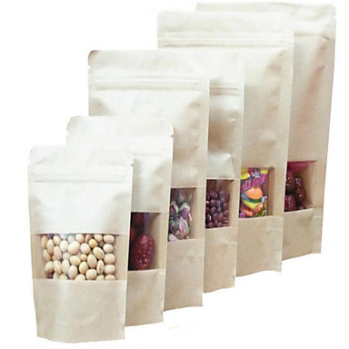 fabrikken direkte Kraft papir poser Kraft vindu ziplock stående poser en pakke med ti mat