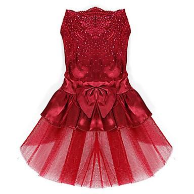 Perro Vestidos Ropa para Perro Lazo Rojo Azul Rosa Dorado Raso Terileno Disfraz Para mascotas Mujer Bonito Cumpleaños Boda