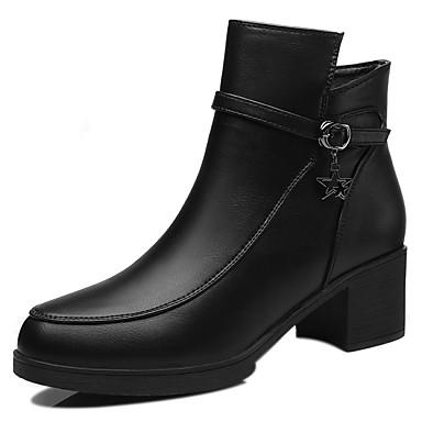 Støvler-PU-Komfort Modestøvler-Dame-Sort Burgunder-Kontor Formelt Fritid-Tyk hæl