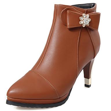 Støvler-Kunstlæder-Modestøvler-Dame-Sort Brun Rød Hvid-Udendørs Kontor Fritid-Stilethæl