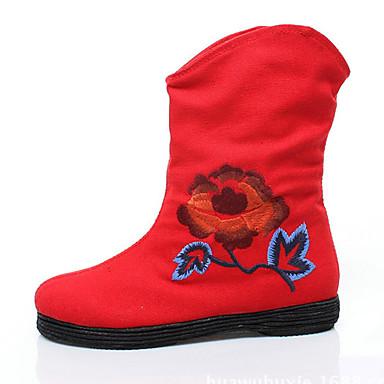 Støvler-Stof-Komfort-Dame-Sort Rød-Udendørs-Flad hæl