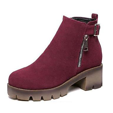 Støvler-Fleece-Ridestøvler-Dame-Sort Burgunder-Udendørs-Platå Creepers