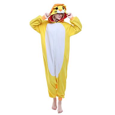 Kigurumi-Pyjamas Löwe Pyjamas-Einteiler Kostüm Polar-Fleece Gelb Cosplay Für Erwachsene Tiernachtwäsche Karikatur Halloween Fest /
