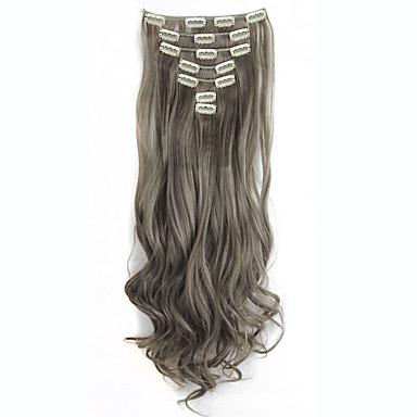 130グラム7PCS /ヘアエクステンション長い巻き毛の偽のヘアピースでセットクリップ偽の毛延長蒸れシアンで16クリップ