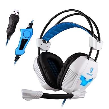 SADES A30S Over øre Pandebånd Ledning Hovedtelefoner Dynamisk Plast Gaming øretelefon Selvlysende Støj-isolering Med Mikrofon Med