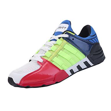 Masculino-Tênis-Conforto-Rasteiro-Verde Preto e Vermelho Preto e Branco-Tule Couro Ecológico-Para Esporte