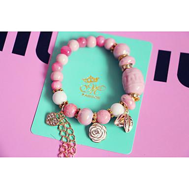Damen Strang-Armbänder Vintage Modisch Perlenbesetzt Handgemacht Keramik Kreisform Rosa Schmuck Für 1 Stück