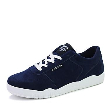 Herrer Sneakers Komfort Tyl Stof Forår Efterår Atletisk Afslappet Gang Komfort Snøring Flad hæl Sort Rød Blå Sort/Hvid Flad