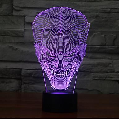 lachend gezicht jack touch dimmen 3d led-nachtlampje 7colorful decoratie sfeerlamp nieuwigheid verlichting licht