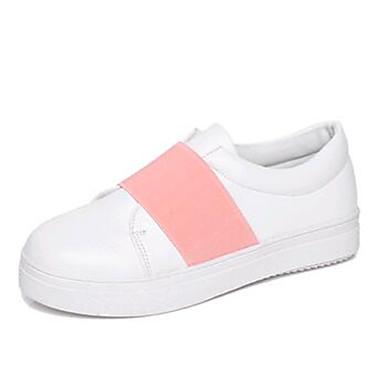 Sort / Grøn / Rosa / Hvid-Flad hæl-Kvinders Sko-Komfort-Kunstlæder-Hverdag-Loafers og Slip-ons