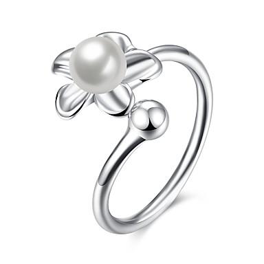 Dames Statement Ring - Sterling zilver, Zilver Feest, Werk, Sexy Verstelbaar Zilver Voor Bruiloft / Feest / Dagelijks / Zirkonia