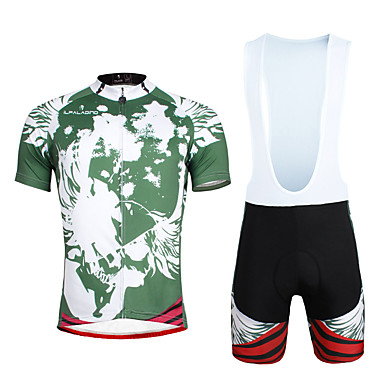 ILPALADINO Herrn Kurzarm Fahrradtrikot mit Trägerhosen - Grün Fahhrad Kleidungs-Sets, 3D Pad, Rasche Trocknung, UV-resistant Lycra