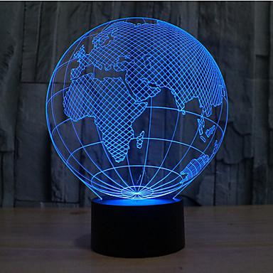 Kart over Europa Touch Dimming 3d LED nattlys 7colorful dekorasjon atmosfære lampe nyhet belysning lys