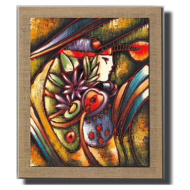 Pintados à mão Abstracto / Pessoas / Fantasia Pinturas a óleo,Modern / Estilo Europeu 1 Painel Tela Hang-painted pintura a óleo For