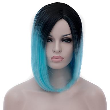 Pelucas sintéticas Mujer Recto / Liso Natural Azul Corte Bob Pelo sintético Raya en medio / Entradas Naturales Azul Peluca Longitud Media Sin Tapa Azul Claro