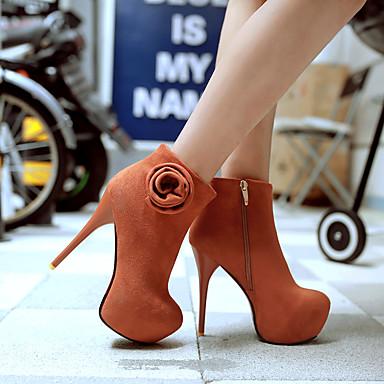 Dames Schoenen Kunstleer Lente Herfst Winter Club Schoenen Oplichtende schoenen Laarzen Naaldhak Rits Voor Causaal Zwart Geel Bruin Rood