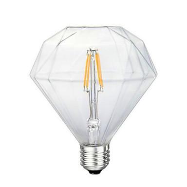 1pcs 4w e26 / e27 levou lâmpadas de filamento g125 4 leds cob decorativas dimmable quente branco 300-350lm 2300-2800k ac 220-240v