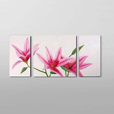 Hang-geschilderd olieverfschilderij Handgeschilderde - Abstract / Stilleven / Bloemenmotief / Botanisch Klassiek / Pastoraal / Modern Kangas / Drie panelen