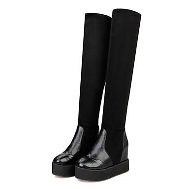 Støvler-Kunstlæder-Modestøvler-Dame-Sort-Kontor / Hverdag-Flad hæl