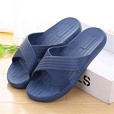 Unissex Sapatos PVC Primavera Outono Chinelos e flip-flops Rasteiro Para Casual Vermelho Azul Rosa claro