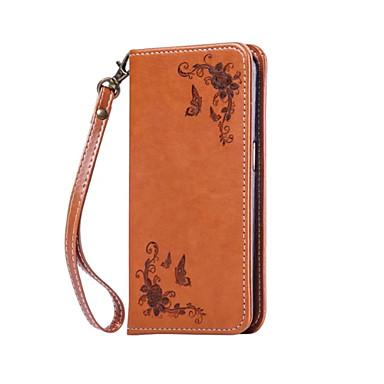 Capinha Para Apple Capinha iPhone 5 iPhone 6 iPhone 7 Porta-Cartão Carteira Capa Proteção Completa Côr Sólida Rígida PU Leather para