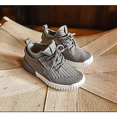 Uniseks Sneakers Herfst Maatwerkmaterialen Casual Platte hak Veters Zwart Grijs Rood