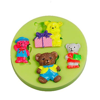 4 ursinhos de pelúcia bebê silicone fundido moldes bolo decoração sugarcraft ferramentas polímero argila fimo fazendo cor aleatória