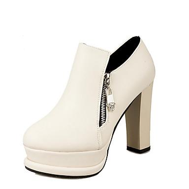 Støvler-PUDame-Sort Hvid-Udendørs Fritid-Tyk hæl