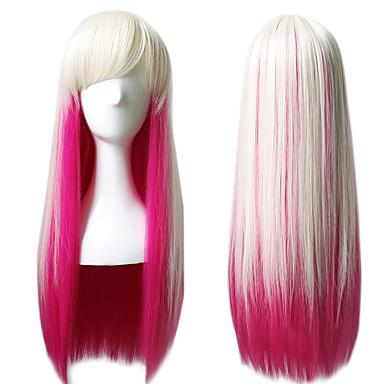 Syntetiske parykker / Kostumeparykker Dame Lige Pink Syntetisk hår Pink Paryk Lang Lys pink