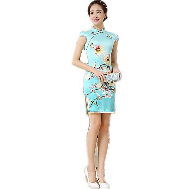 Tradisjonell Dame Kjoler A-Line Dress Blyantkjole Cosplay Blå Blomstret Kortermet Medium Lengde