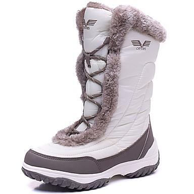 Damen Schuhe Schweineleder Spandex Winter Herbst Schneestiefel Stiefel Flacher Absatz Schnürsenkel für Draussen Weiß Schwarz Rosa
