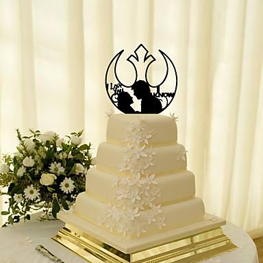 Kakepynt Klassisk Tema Klassisk Par Akryl Bryllup med Blomst 1 Gaveeske