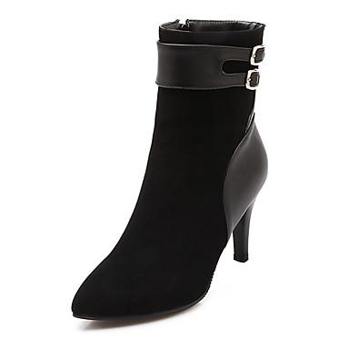 Γυναικείο Παπούτσια Φλις Δερματίνη Άνοιξη Φθινόπωρο Χειμώνας Τακούνι Στιλέτο Μποτίνια Αγκράφα Φερμουάρ Για Causal Φόρεμα Μαύρο Μπεζ