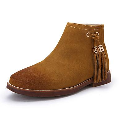 Mulheres Sapatos Courino Outono / Inverno Conforto Botas Caminhada Sem Salto Ponta Redonda / Dedo Fechado Mocassim Preto / Marron